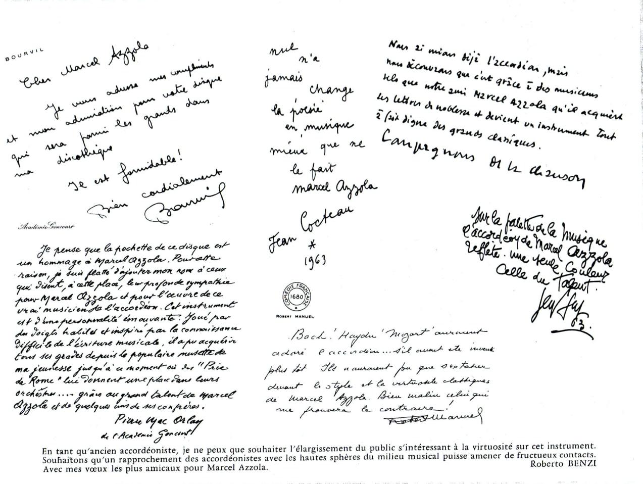 Marcel Azzola dédicaces Cocteau  Bourvil Pierre Mac Orlay
