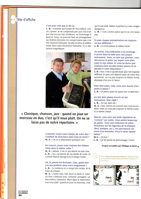 Dernière page MARCEL AZZOLA et LINA BOSSATTI