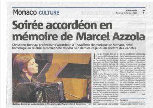 Article hommage Marcel AZZOLA Concert à Monaco