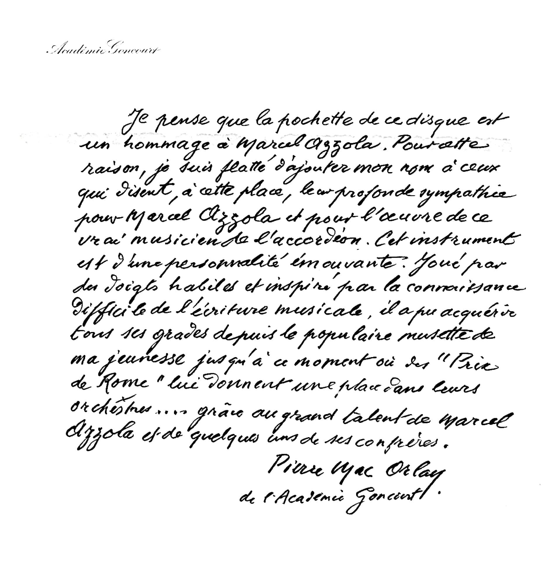 Dédicace de Pierre Mac Orlan à Marcel Azzola