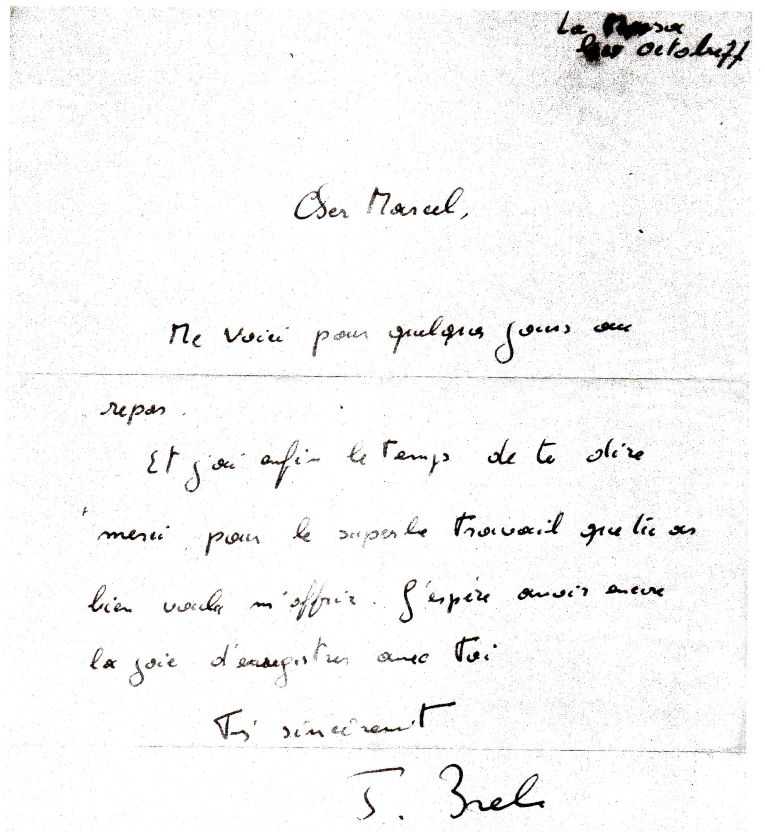 Lettre de Jacques Brel à Marcel Azzola