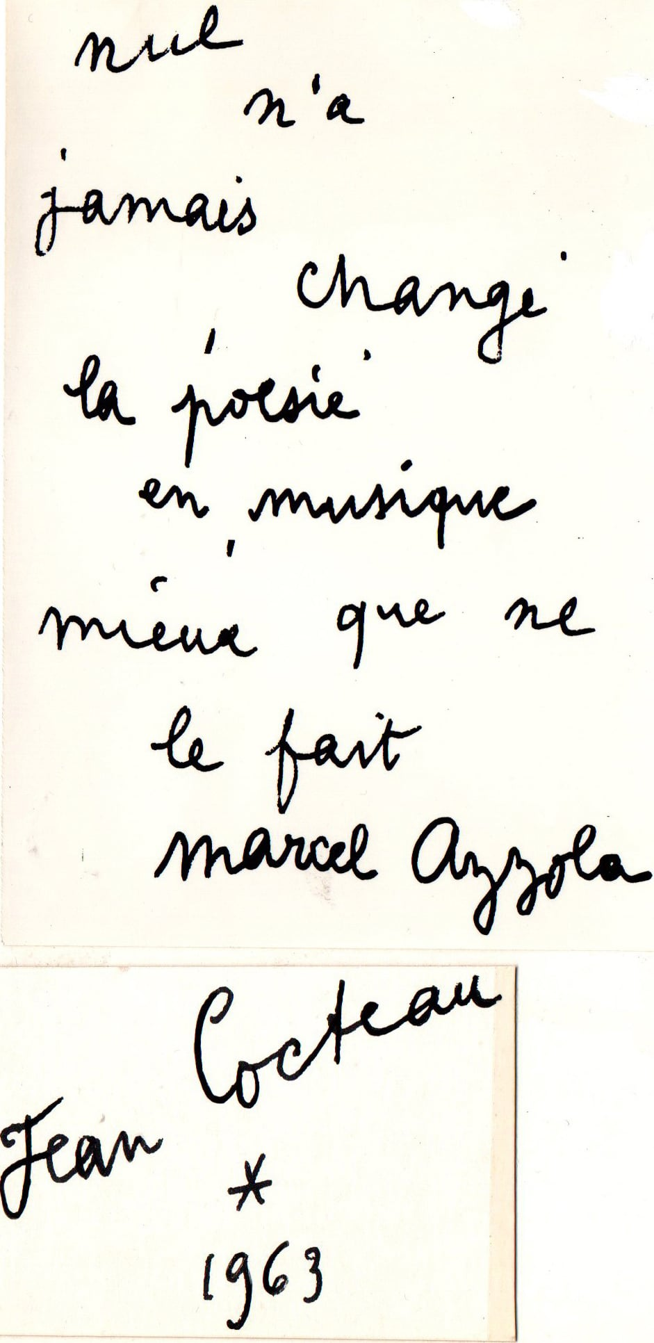 Dédicace de Jean Cocteau à Marcel Azzola