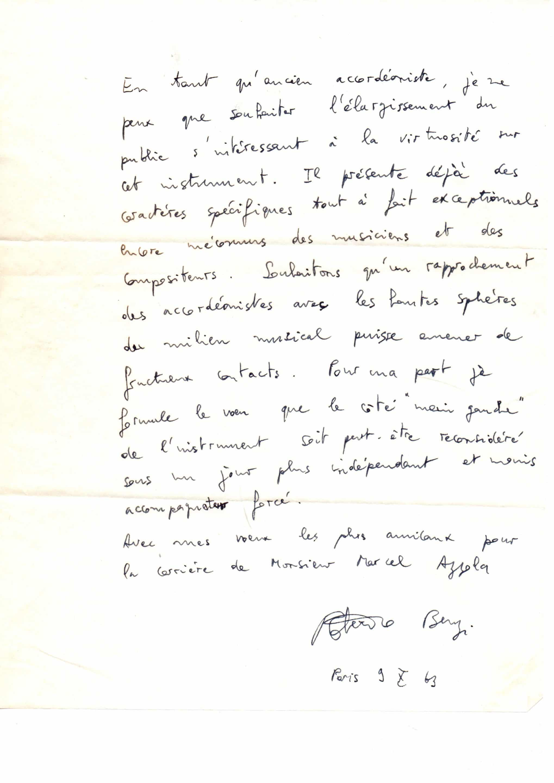 Lettre de Roberto Benzi à Marcel Azzola